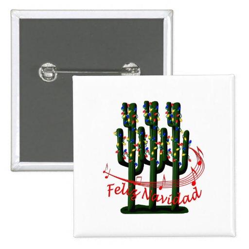 Christmas Cactus Tree Feliz Navidad Button