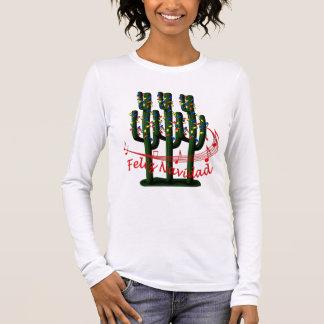 Christmas Cactus Tree Feliz Navidad Ladies LS T Long Sleeve T-Shirt