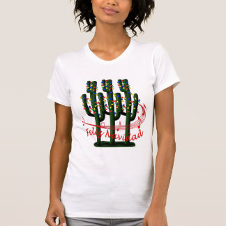 Christmas Cactus Tree Feliz Navidad Ladies T-shirt