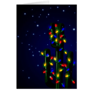 Christmas Cactus Tree with Lights Card