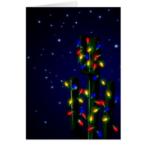 Christmas Cactus Tree with Lights Greeting Card