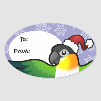 Christmas Caique / Lovebird / Pionus / Parrot Oval Sticker