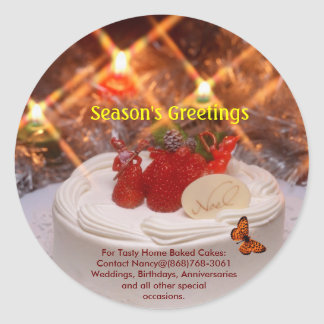 Christmas-Cake-933652, red butterfly, Season's ... Classic Round Sticker