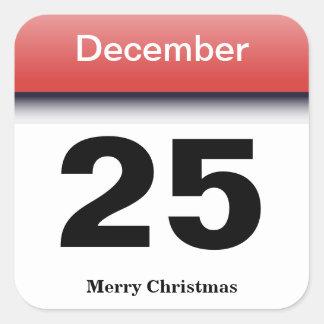Christmas Calendar Date Square Sticker