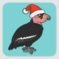 Cute California Condor Santa Square Sticker