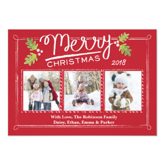 Christmas Calligraphy Holly 3 Photo 5x7 Paper Invitation Card