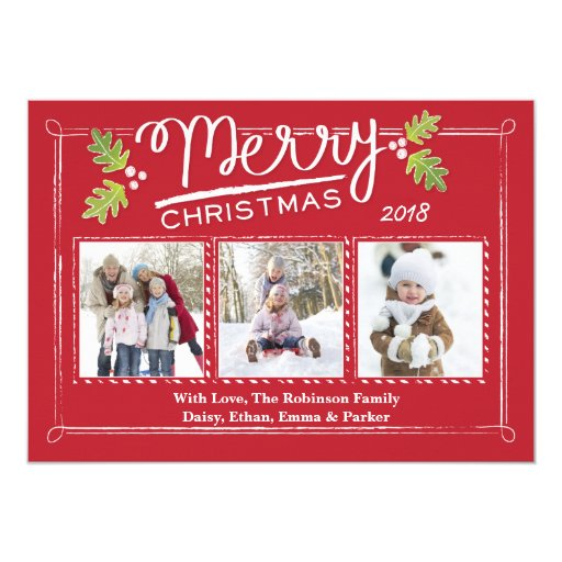 Christmas calligraphy holly photo card zazzle