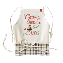 christmas calories dont count funny holiday quote zazzle HEART apron