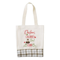 christmas calories dont count funny holiday quote zazzle HEART tote bag