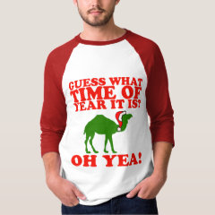 Christmas Camel in Santa hat raglan Shirt