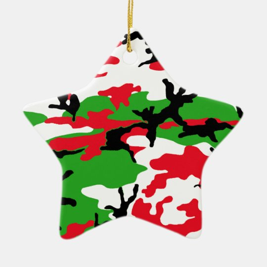 Christmas Camouflage Ceramic Ornament