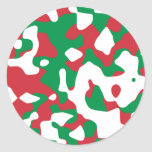 Christmas Camouflage Round Stickers