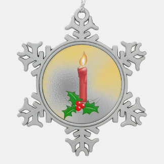 Christmas Candle 2 Pewter Snowflake Ornament
