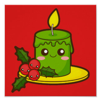 Christmas Candle and Holly Poster
