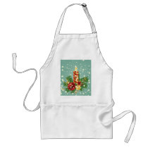 Christmas Candle And Snowflakes Adult Apron