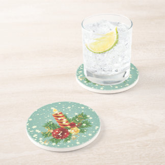 Christmas Candle And Snowflakes Drink Coaster