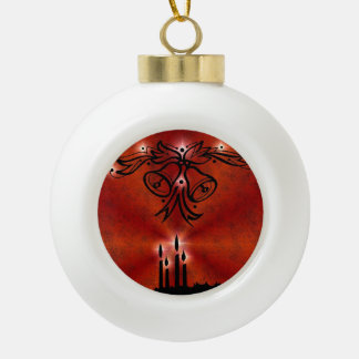 Christmas Candle Bell and Stars Ceramic Ball Christmas Ornament