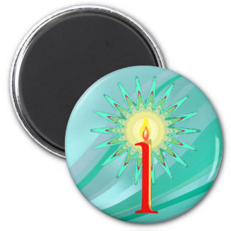 CHRISTMAS CANDLE by SHARON SHARPE 2 Inch Round Magnet