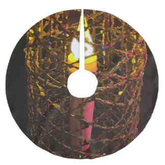 Christmas Candle Cage Brushed Polyester Tree Skirt