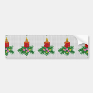 Christmas Candle Cross Stitch Bumper Sticker