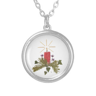 Christmas candle design round pendant necklace