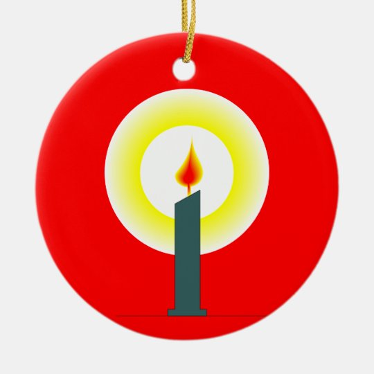 Christmas Candle Glowing Ceramic Ornament