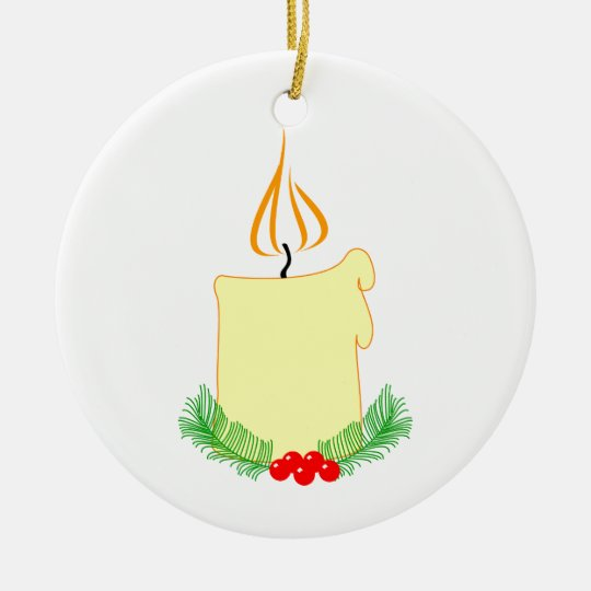 Christmas Candle Glowing With Holly Ceramic Ornament