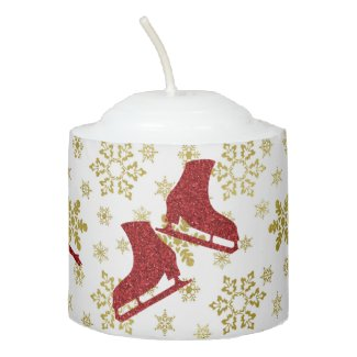 Christmas candle - Gold & red figure skaters