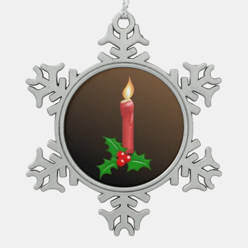 Christmas Candle Holly Pewter Snowflake Ornament