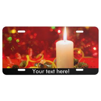 Christmas candle license plate