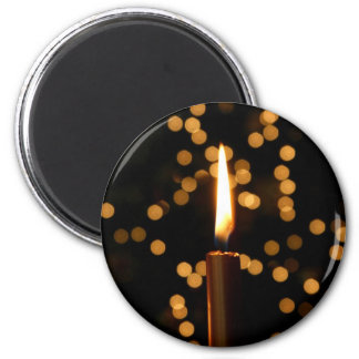 Christmas Candle 2 Inch Round Magnet