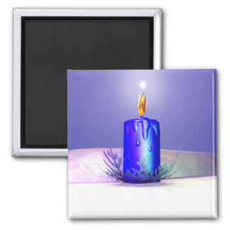 Christmas Candle Night Blue 2 Inch Square Magnet
