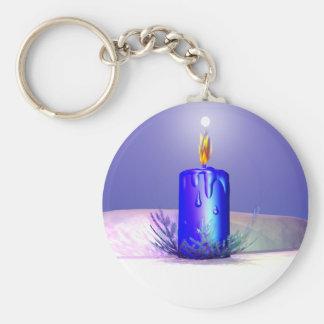 Christmas Candle Night Blue Keychain