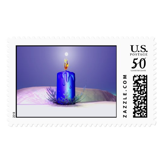 Christmas Candle Night Blue Postage