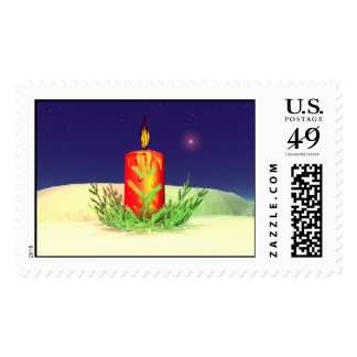 Christmas Candle Night Red Postage