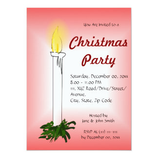 "Christmas Candle on a Red Background 5.5"" X 7.5"" Invitation Card"
