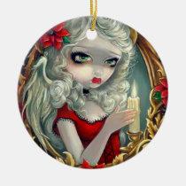 artsprojekt, art, fantasy, christmas, angel, fairy, poinsettias, poinsettia, victorian, rococo, xmas, holiday, gothic angel, christmas angel, christmas fairy, garland, apple, grape, leaves, leaf, gold, winter, winter fairy, eye, eyes, big eye, big eyed, jasmine, becket-griffith, becket, griffith, jasmine becket-griffith, jasmin, strangeling, artist, goth, gothic, gothic fairy, faery, Ornamento com design gráfico personalizado