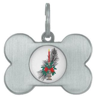Christmas Candle Pet ID Tag