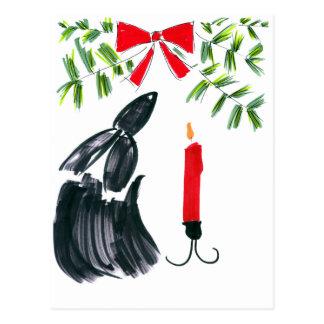 Christmas candle postcard