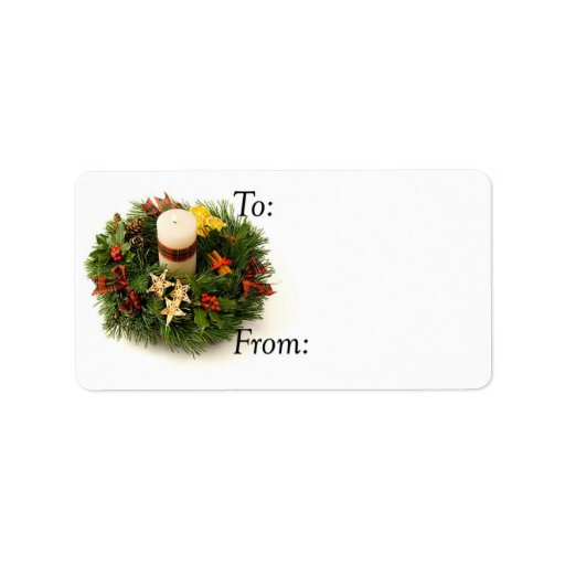 Christmas Candle Ring Gift Tag Label