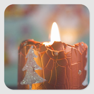 christmas candle square sticker