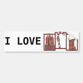Christmas Candles, Candy Cane & Stocking Bumper Sticker