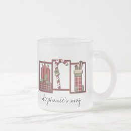 Christmas Candles, Candy Cane & Stocking Frosted Glass Coffee Mug