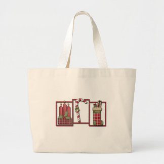 Christmas Candles, Candy Cane & Stocking Large Tote Bag