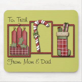 Christmas Candles, Candy Cane & Stocking Mouse Pad