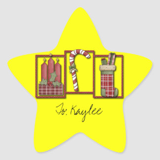 Christmas Candles, Candy Cane & Stocking Star Sticker