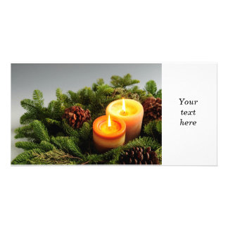 Christmas candles custom photo card