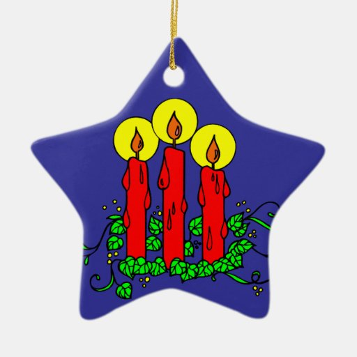 Christmas Candles Glowing Boughs Of Holly Double-Sided Star Ceramic Christmas Ornament