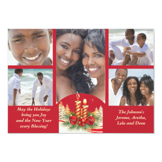 Christmas Candles Holiday Photo Card