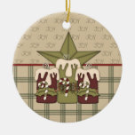 Christmas Candles Double-Sided Ceramic Round Christmas Ornament